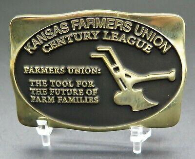 Kansas Farmers Union Century League Agriculture Plow Anacortes Brass Belt Buckle #fashion #clothing #shoes #accessories #specialty #vintage (ebay link)