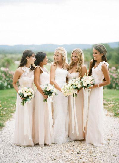 Black Tie French Chateau Wedding Ivory Bridesmaid Dresses Bridesmaid French Chateau Weddings