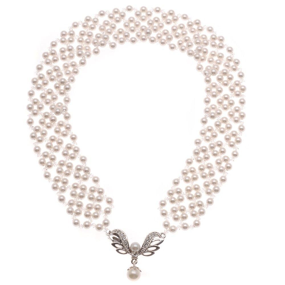 An elegant swath of Swarovski Pearls and Crystals wrap around your ...