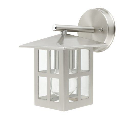 Globe Electric 40848 Kanto 9-Inch Downward Outdoor Wall Lantern Light Fixture, Silver by Globe Electric. $32.47. From the Manufacturer                Globe, Kanto 9-Inch downward outdoor  wall mount: Sleek and clean, this beautiful luminaire will softly welcome your guests without speaking a word. Clear glass will illuminate your doorway, making your entrance of your home welcoming to you and your guests.                                    Product Description       ...