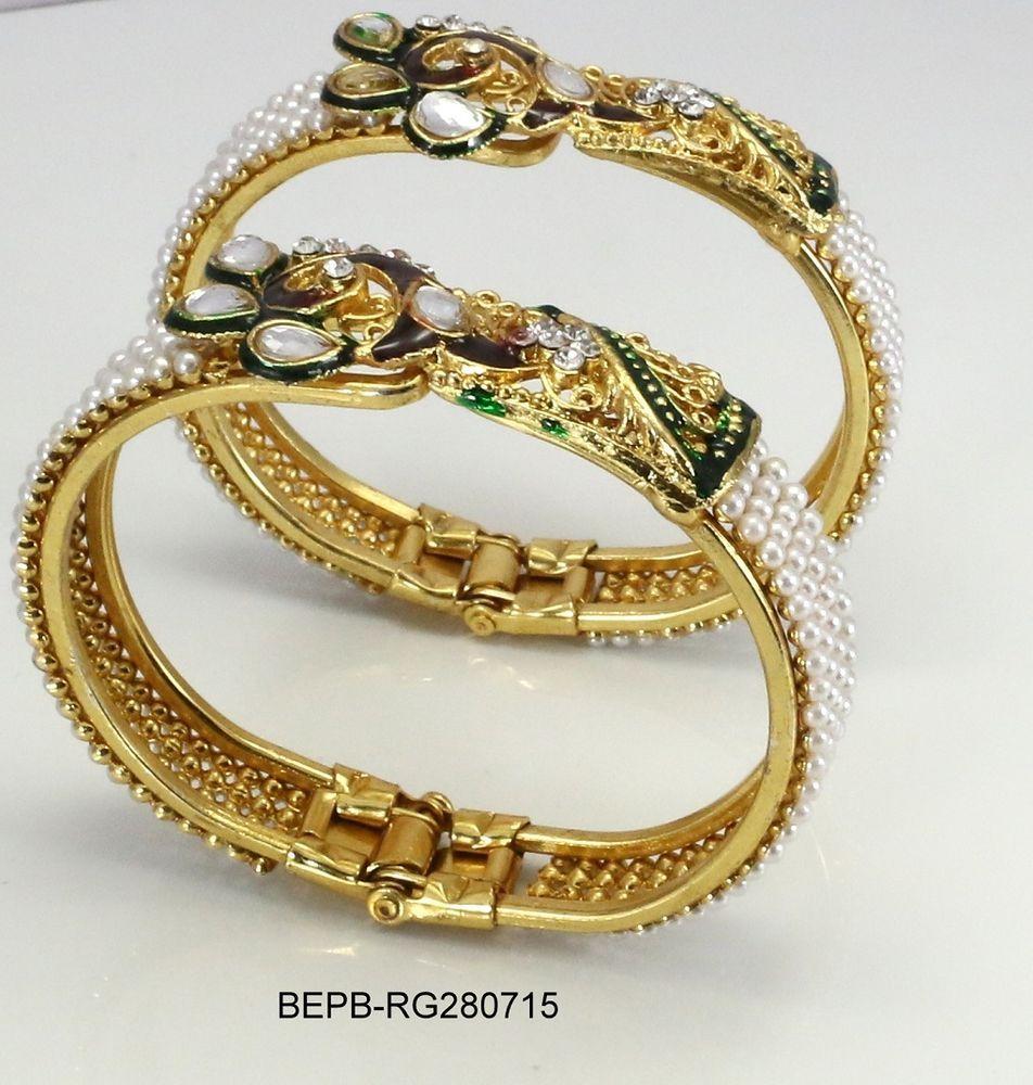 New indian ethnic elegant women fashion bracelet latest pearl gold