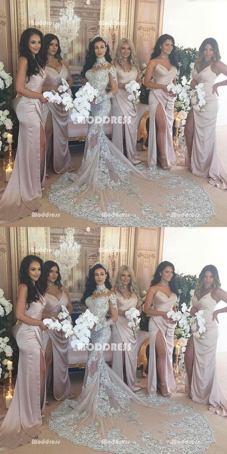 Sexy vneck long bridesmaid dresses simple long prom dresses with
