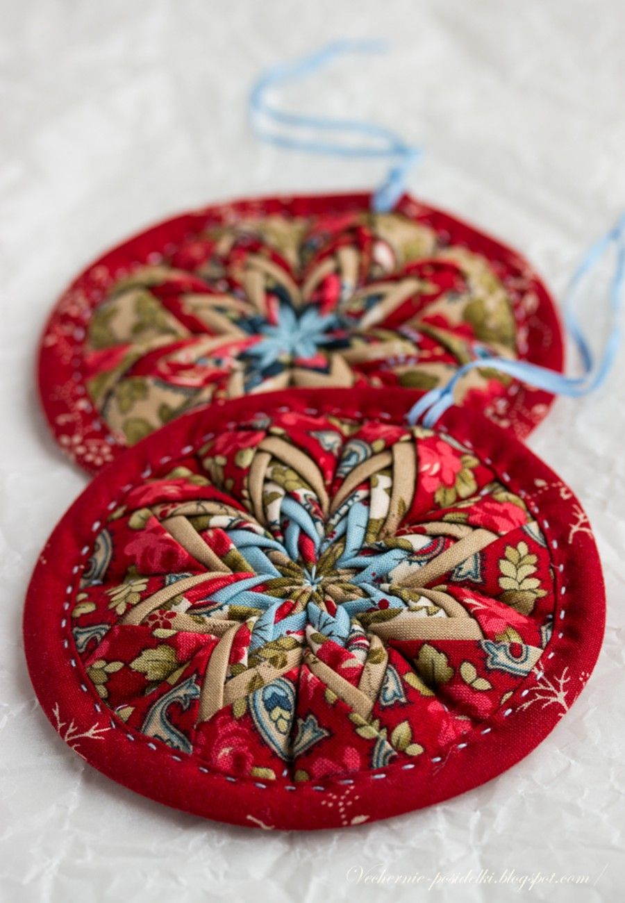 Folded fabric christmas ornaments patterns - Tutorial For A Novel Construction Of A Folded Star Ornament It Is In Russian But