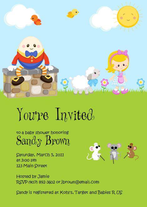 Printed custom mother goose nursery rhyme baby shower invitations printed custom mother goose nursery rhyme baby shower invitations boy girl set of 12 filmwisefo Images
