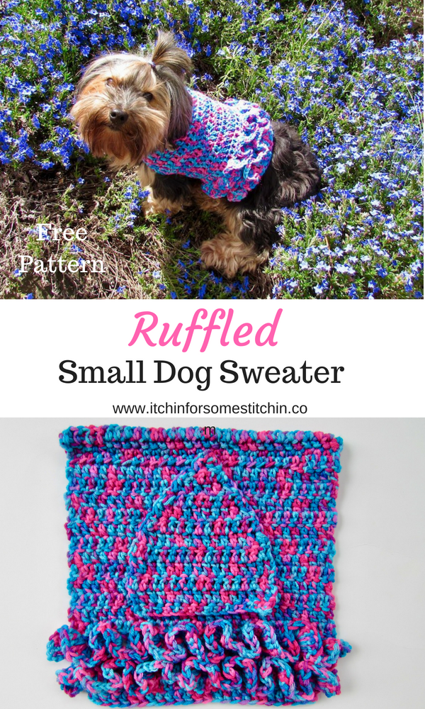 How to Crochet a Dog Sweater With Ruffles #dogcrochetedsweaters Free Ruffled Small Dog Crochet Sweater Pattern - This small dog sweater with ruffles is perfect for your little girl fur babies who are about 10-lbs. It's so cute and stylish she'll be prancing around like a pampered princess in her fancy tutu coat! Plus, it's super easy to put together and requires only basic stitches. Don't let the ruffles intimidate you. They are actually really simple to make! #freepattern #dogsweater #p #dogcrochetedsweaters
