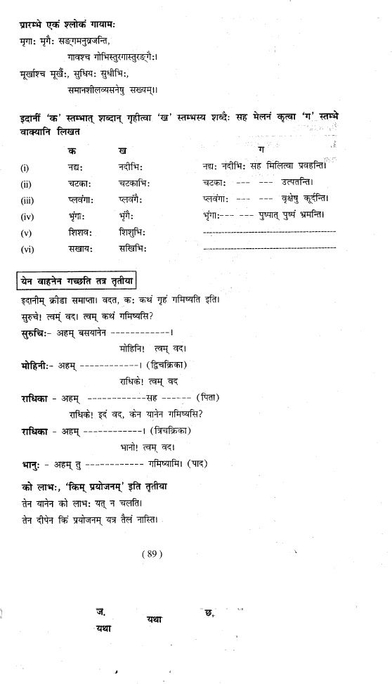 Manika sanskrit Workbook Class 9 CBSE Chapter 12 Page 89 - sanskrit alphabet chart