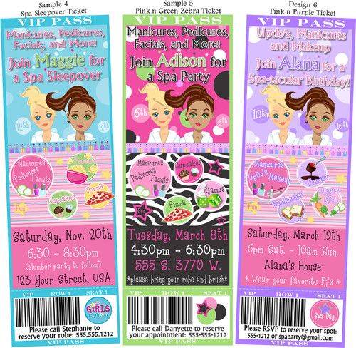 Printed SpaGirls Night In Birthday Party Ticket Invitations Zebra