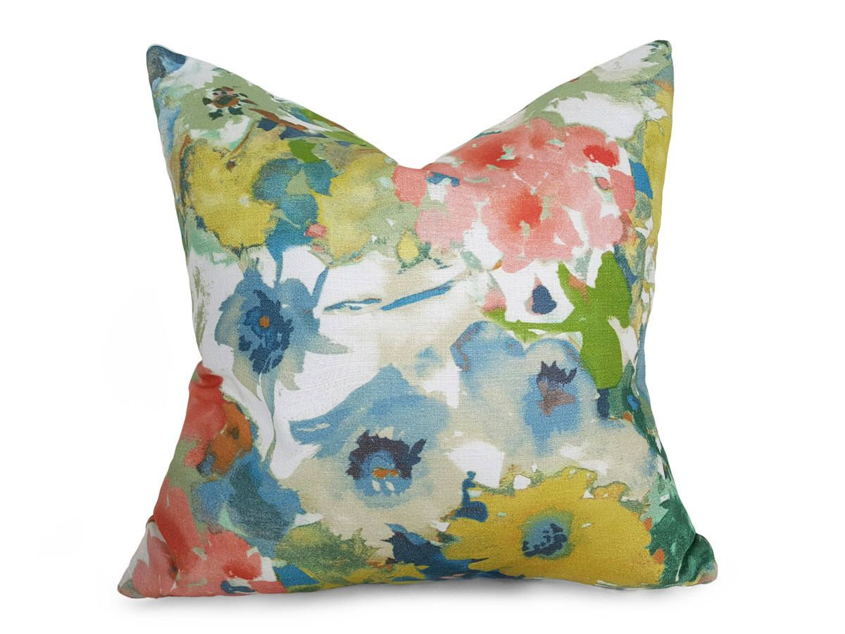 Watercolor Floral Pillow, Colorful Summer Pillows, Blue Green ...