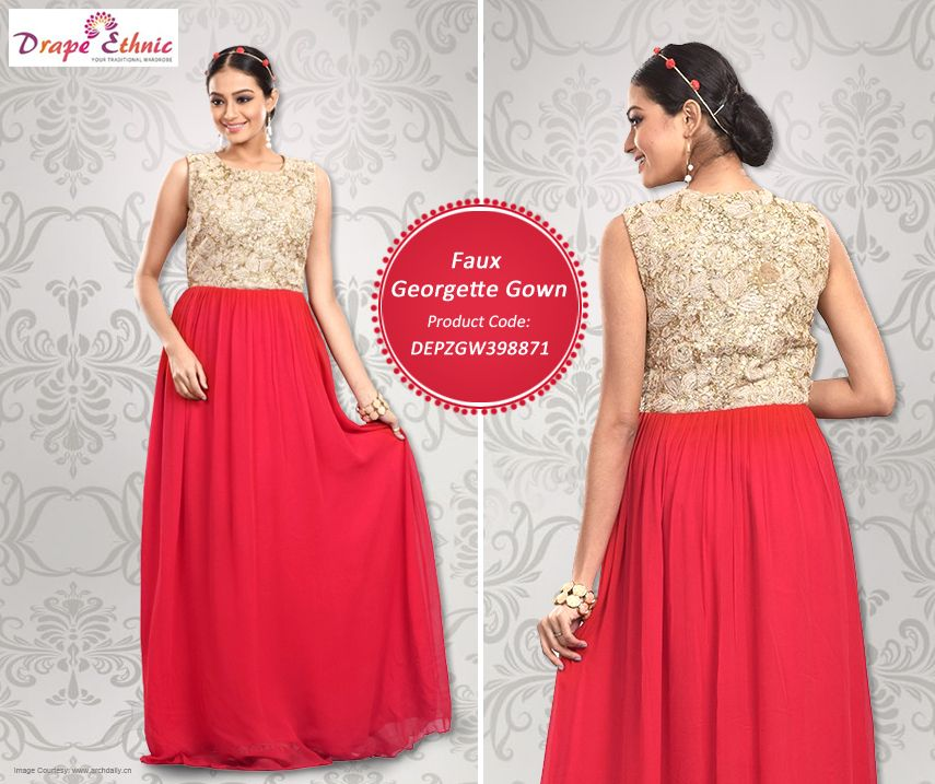 Fuse Ethnicity with Trend. Choose the Stunning Gown for Weekend Party  To Buy : https://goo.gl/vTww7M  #Gown #Red #Beige #Trendy #Classy #Ethnic #Fusion  #DrapeEthnic