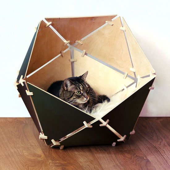 Catissa Geobed U2013 Wooden Geometric Cat House By Ilshat Garipov Part 94