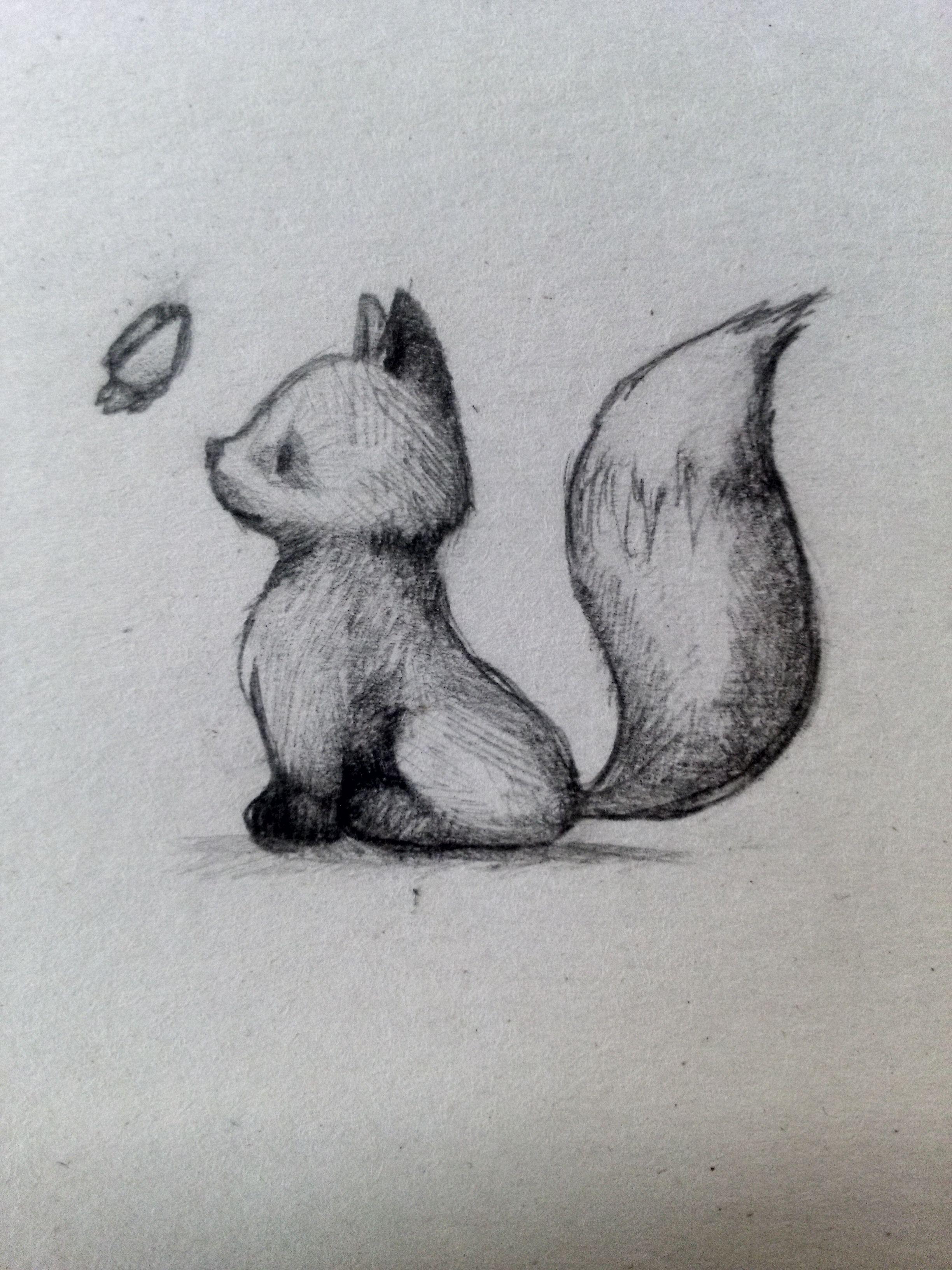 Little Fox Cute Fox Cutefox Animal Draw Art Pencil
