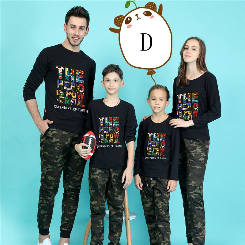 2PCS Camo Family Matching Clothes Women Men Mother Father Baby Kids Tshirt+Pants