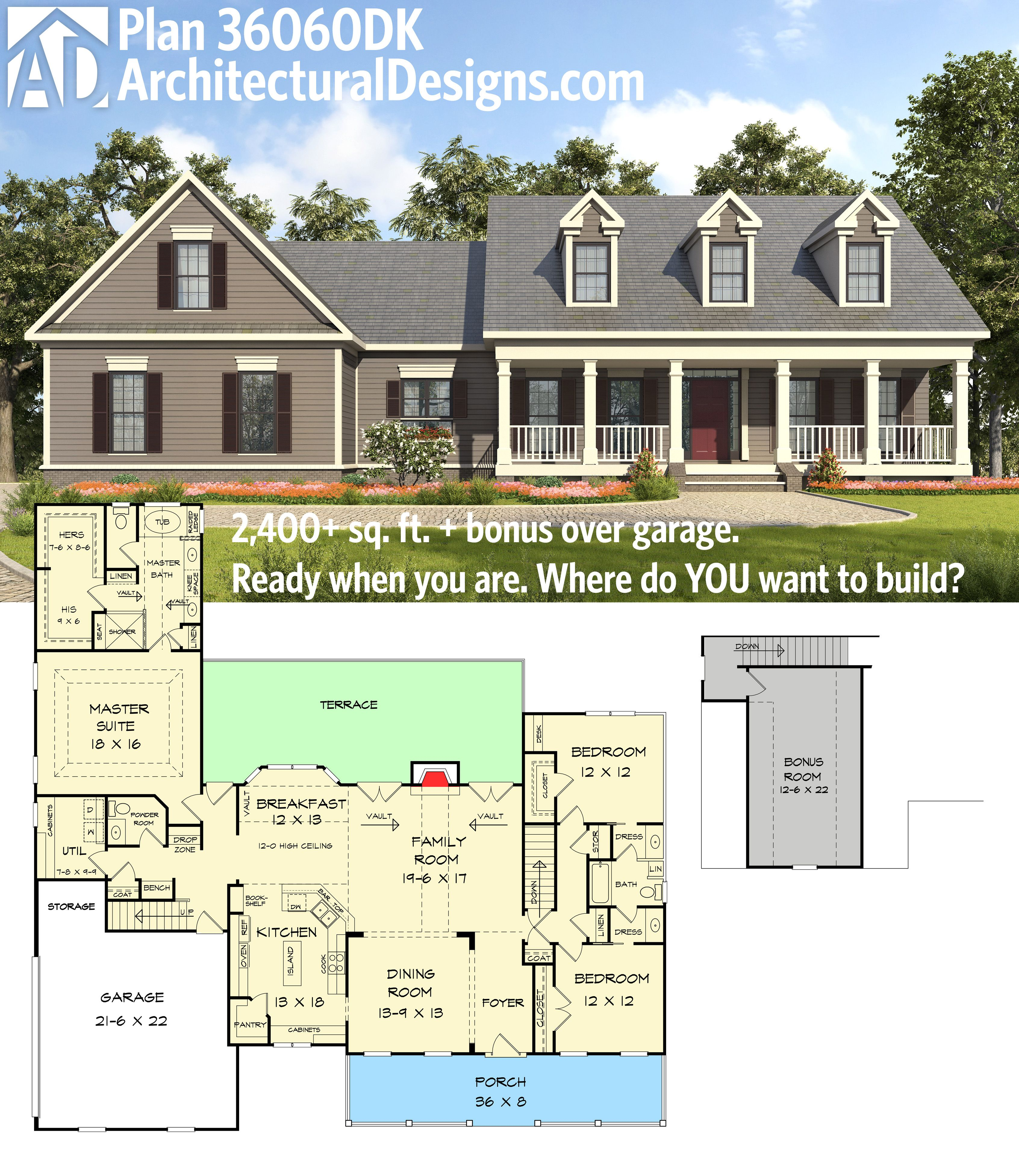 Architectural designs house plan 36060dk gives you 3 bed for House plans with bonus room over garage