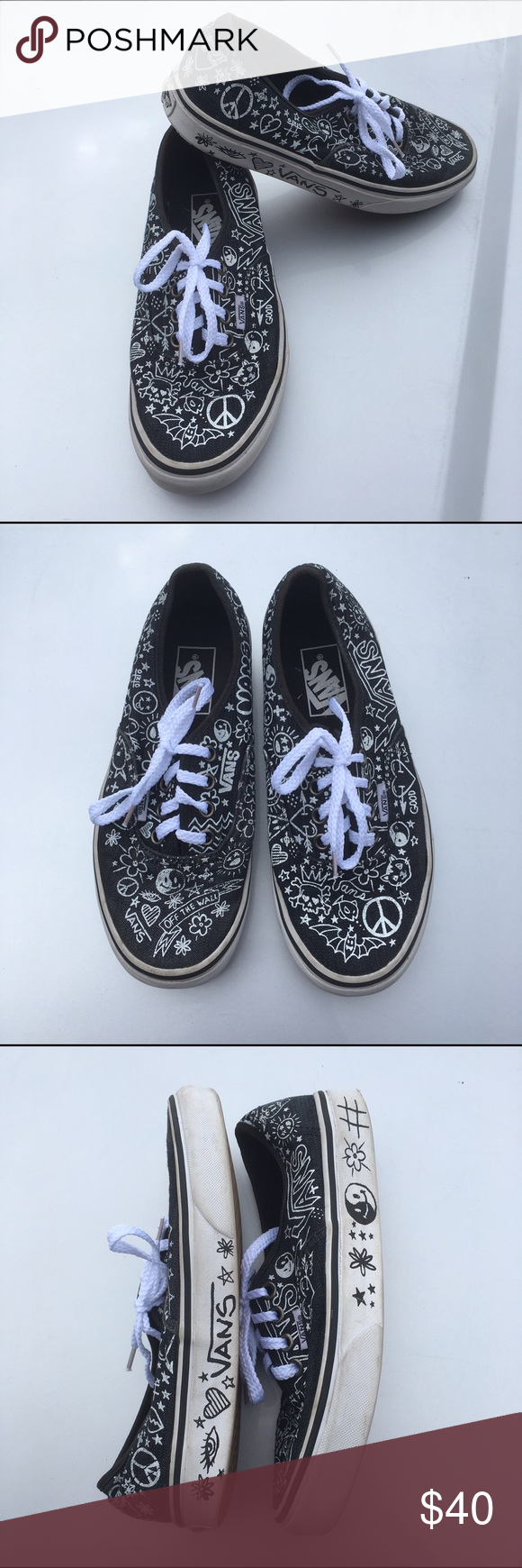 e7bb03f2da Doodle Vans size 6 Black and white Vans sneakers! Women s size 6 Fun  doodle   print with factory-drawn doodles on the sides as well!