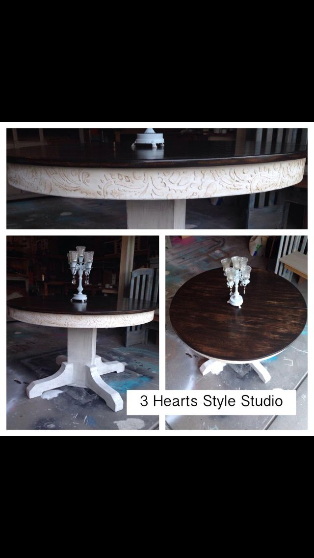 Rustic glam round kitchen table. Paisley trim. Refinished furniture ...