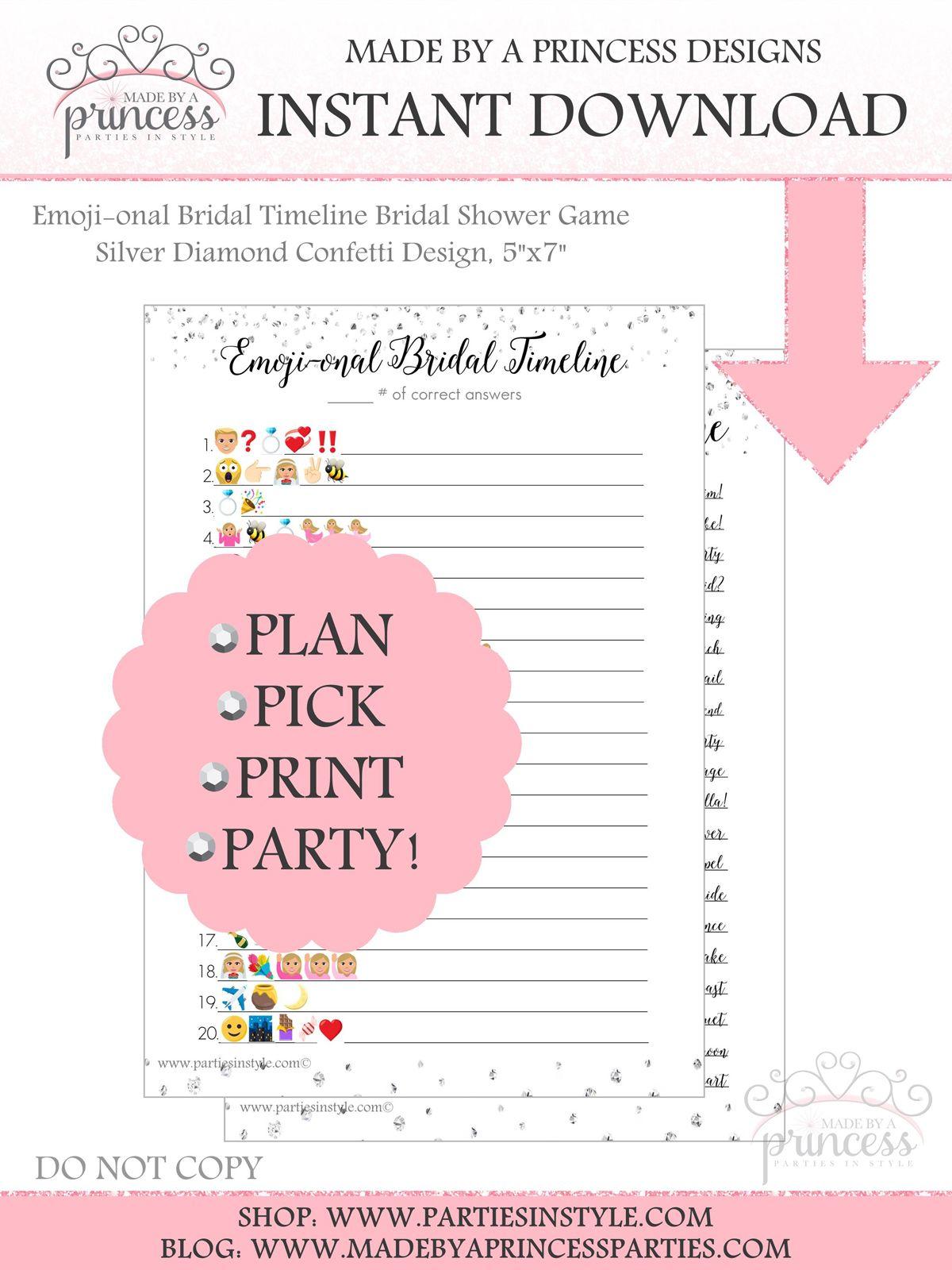 Emoji Onal Bridal Timeline Bridal Shower Game Instant Download Silver