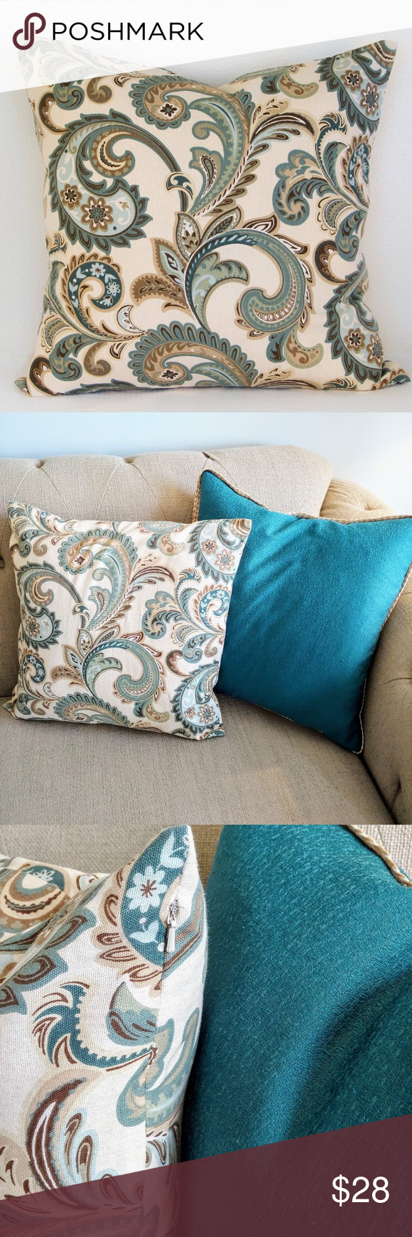 Pillow set paisley print 20x20 Paisley print pillow cover with invisible zipper. Pillow set