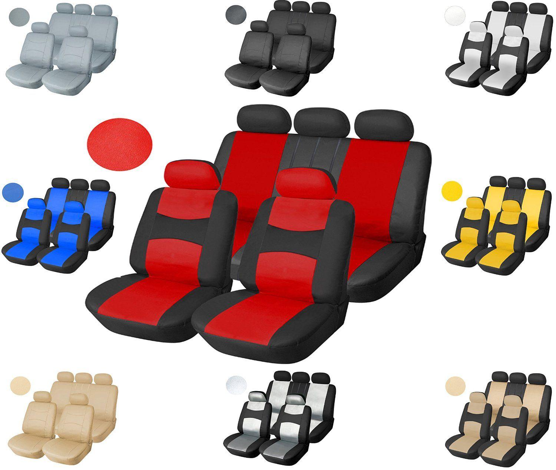 Amazon Leather Like Vinyl Semi Custom Car Seat Covers 40 60 Full Split Universal 1559 Black Red Automotive