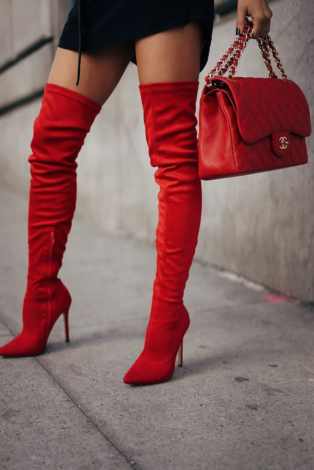 cfb456ddf84 HOW TO WEAR RED THIGH HIGH BOOTS THIS FALL #redboots #chanelbag ...