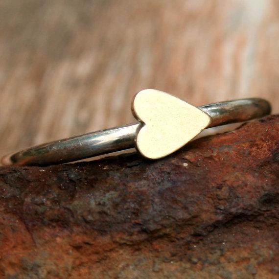 Sterling Silver Ring  Brass Sideways Heart by DDFemme on Etsy