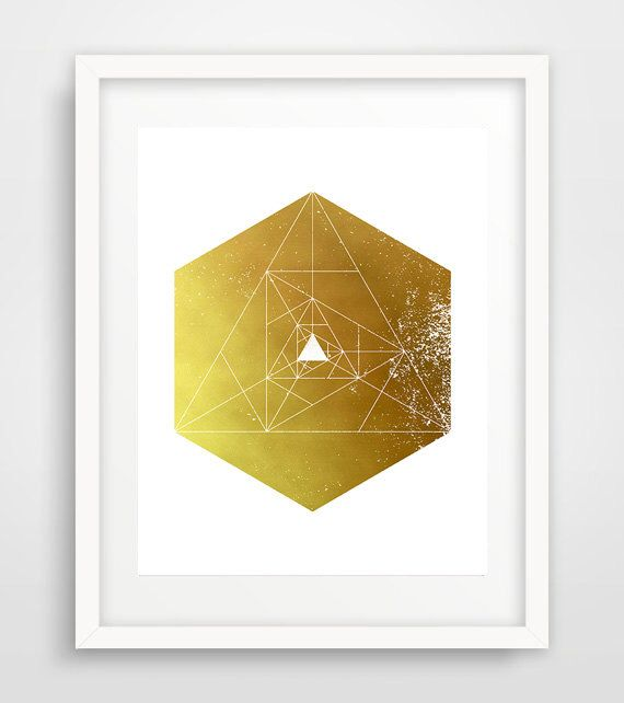 Gold hexagon, wall prints, sacred geometry, hexagon art, modern wall ...
