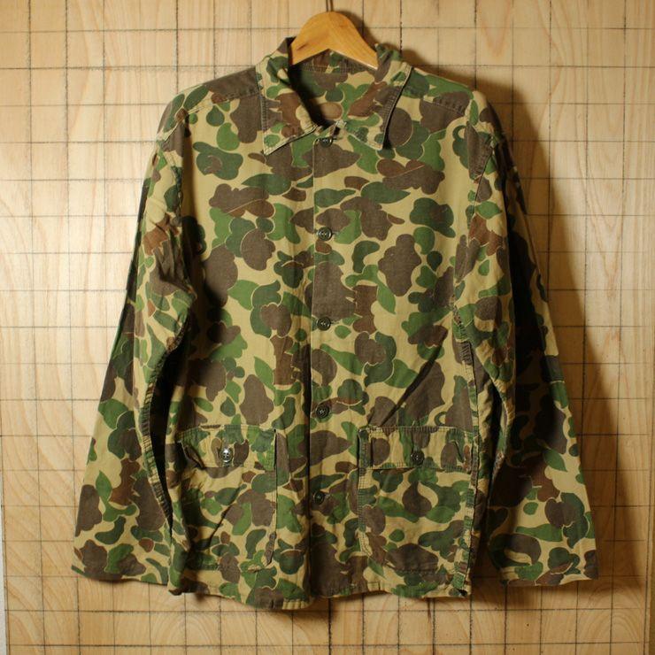 USA製古着カモフラージュ迷彩総柄コットンハンティングシャツ/メンズLサイズ相当