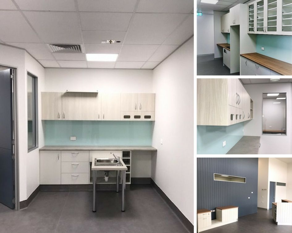 Take A Look At Our Recent Fitout Of Pawfect Health Vet Hospital Featuring Timber And White Cabinetry High Gloss Splashba White Cabinetry Cabinetry Home Decor