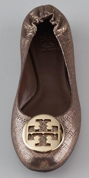 Tory Burch Ballet Flats Bronze Shoes, Flats Outfit, Metallic Flats, Crazy  Shoes, 3cb5812b77