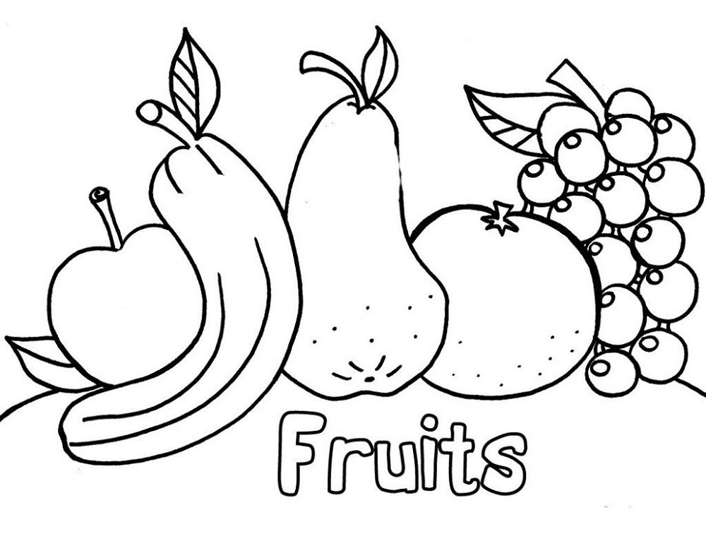 Simple But Challenging Coloring Pages For Toddlers To Print Fruit Coloring Pages Apple Coloring Pages Kindergarten Coloring Pages