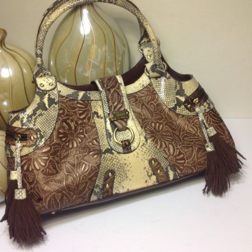 Sharif Studio Handbag Purse Brown Cream