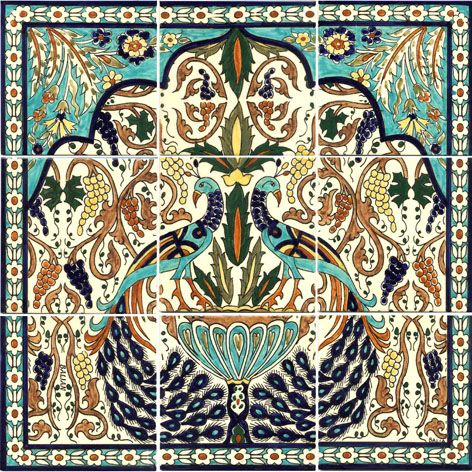 Armenian peacock tile mural todd vendituoli 39 s coverings for Clay tile mural