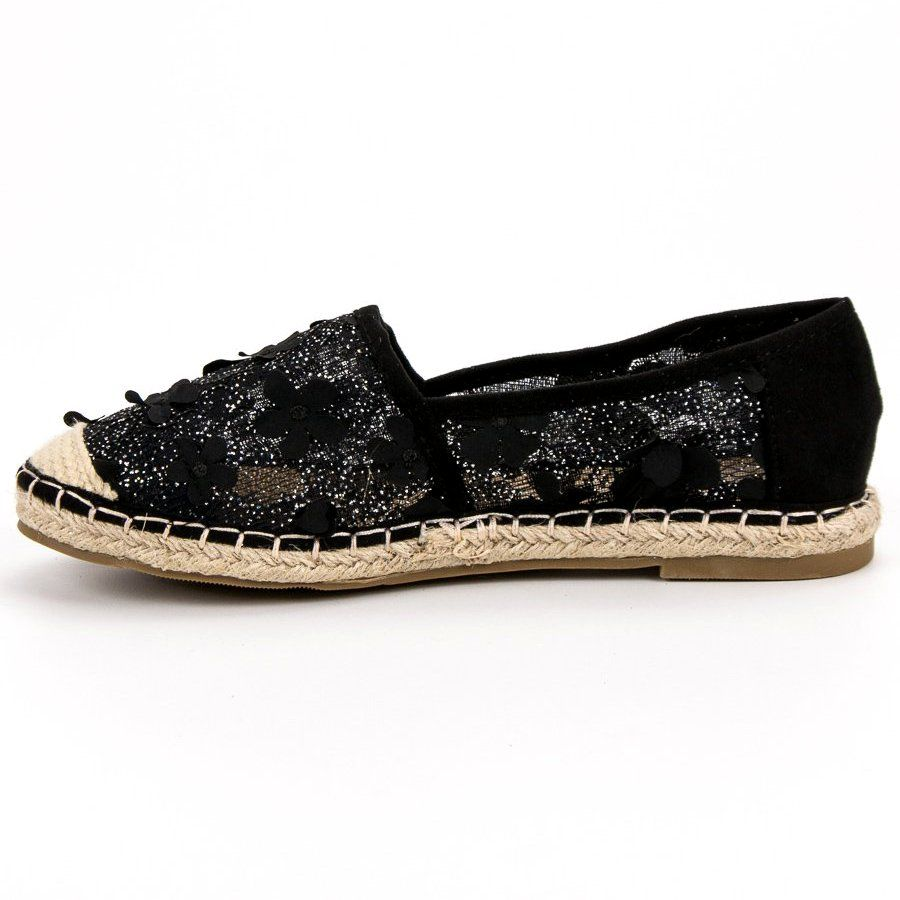 Nio Nio Koronkowe Espadryle W Kwiaty Czarne Flat Espadrille Espadrilles Shoes
