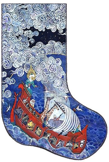 Art Needlepoint Noahs Ark Christmas Stocking. From the Art ...