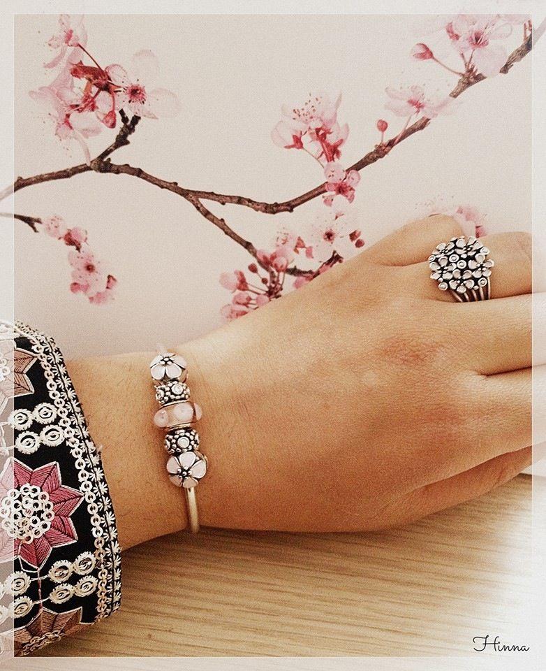 4270ad2c7 PANDORA Bangle Showcasing Cherry Blossom Clips n Pink Murano. Pretty Cherry  Blossom Ring Too. ♡