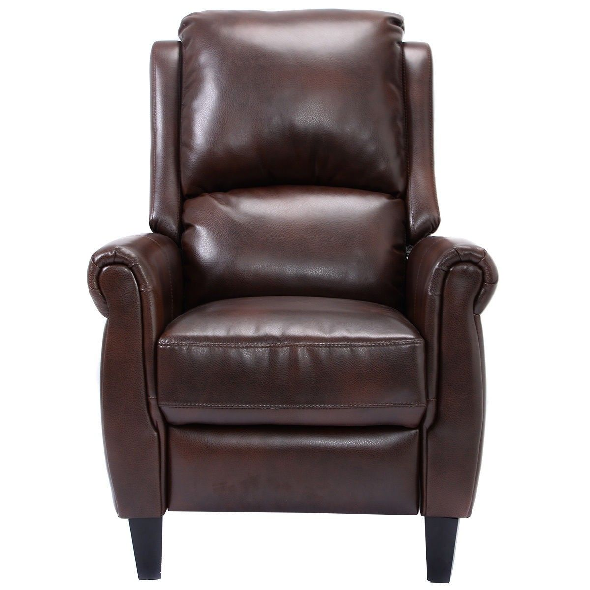 Brown accent chair recliner with leg rest leather