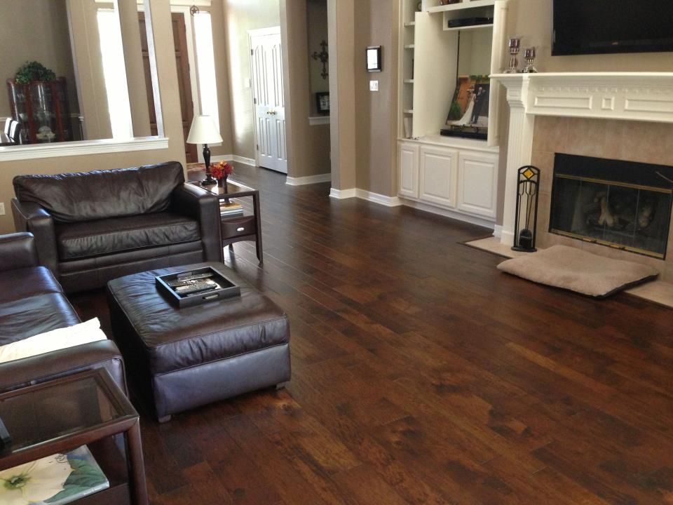 A hand scraped, rustic floor can be very for
