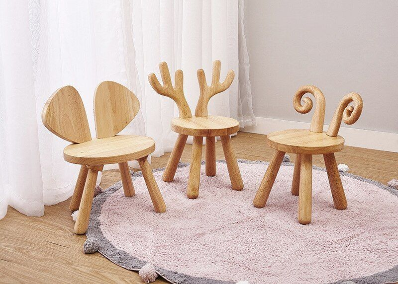 Ins Northern Europe Style Lamb Kids Chair Children Furniture House