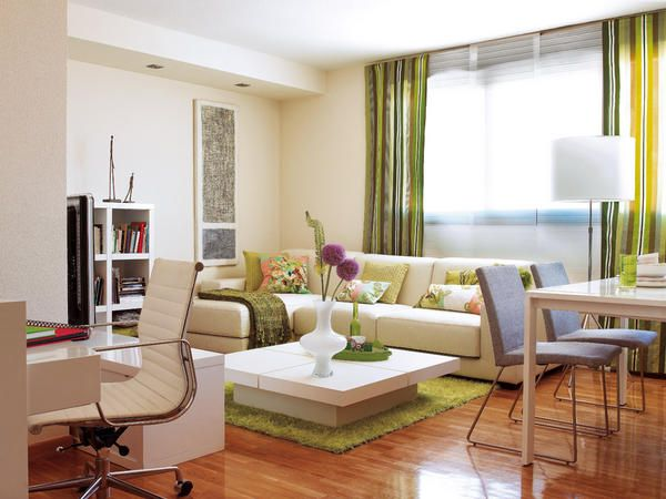 Salones en verde living rooms exterior and room for Decoracion interior living comedor