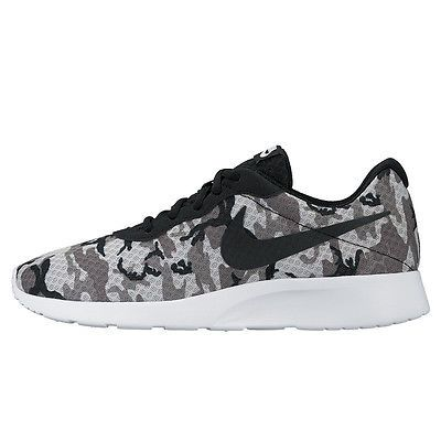 Nike Tanjun Print Mens 819893-001 Grey Black Camo Athletic Running Shoes Sz  10.5