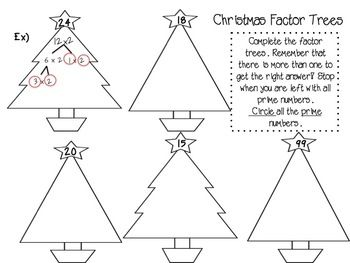 Christmas Factor Trees And Other Activities Factor Trees Grade 6 Math Worksheets Math