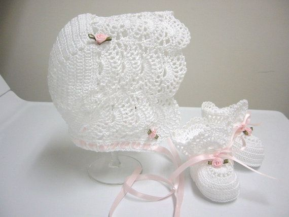 Christening Baby Bonnet Shoes, Christening Crochet Bonnet ...