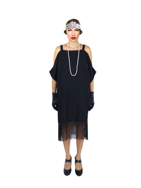 a3bc16636aa0b Retro Flapper Dress Black Cut Out Shoulder Great Gatsby Fringe Costume 1920s  Roaring 20s Downton Abb