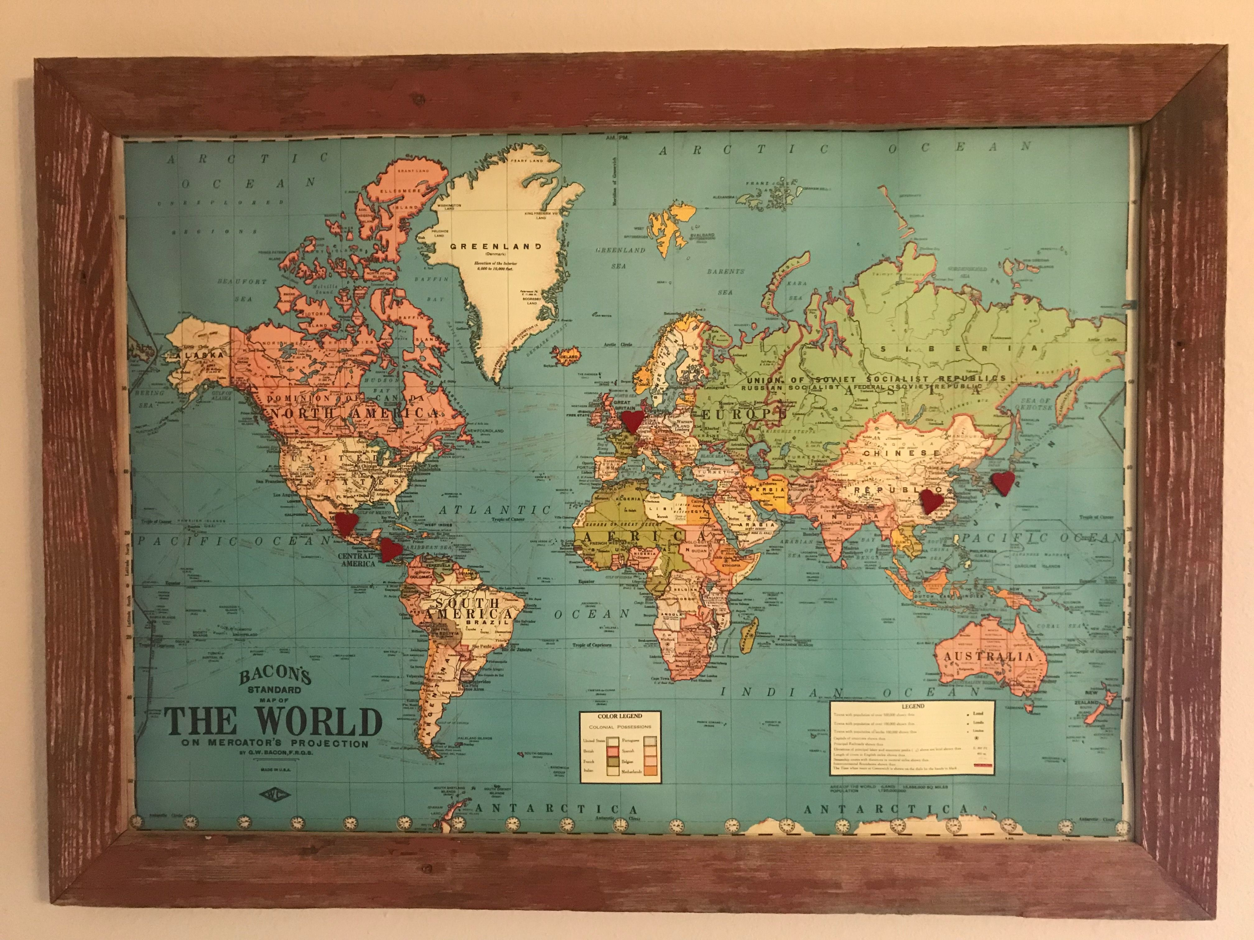 Framed Magnetic World Map.A World Map Backed With Metal And Framed With Old Barn Wood