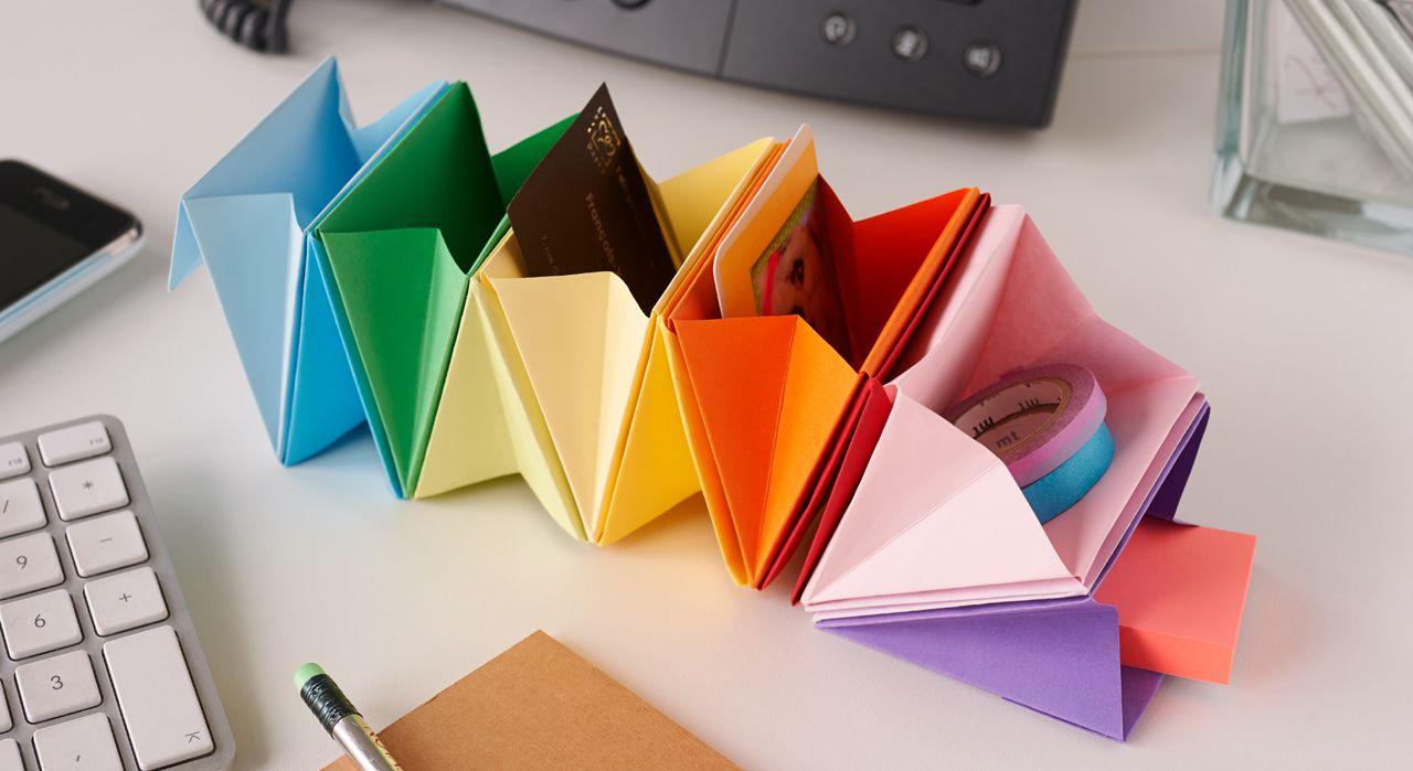 Un rangement de bureau en origami origami diy paper and washi