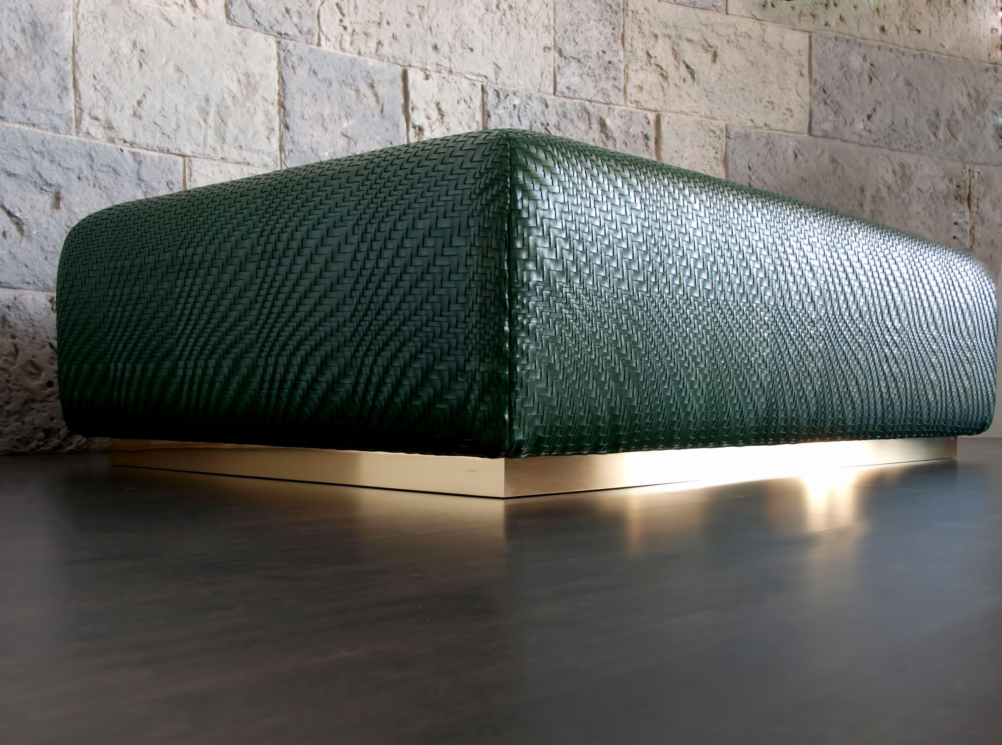 Fantastic Cobblestone Woven Leather Ottoman In Bottle Green Seat Lamtechconsult Wood Chair Design Ideas Lamtechconsultcom