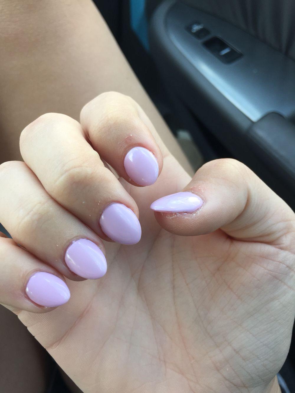 Short Stiletto Almond Baby Pink Nails Baby Pink Nails Pink Nails Almond Shaped Nails Designs