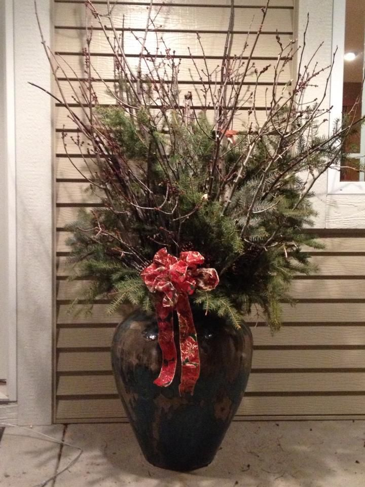 Large Urns For Decoration Alluring Large Vaseurn Decorated For The Holidays And Winter With Pine Inspiration Design