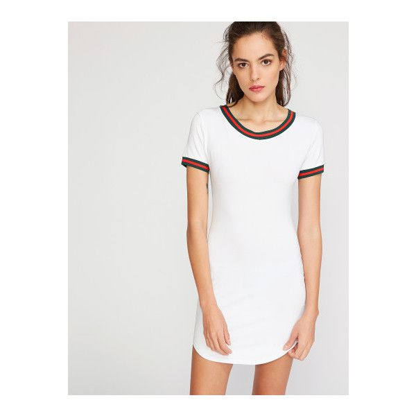 SheIn(sheinside) Striped Trim Curved Bodycon Dress ($16) ❤ liked on Polyvore featuring dresses, white, short-sleeve dresses, cotton summer dresses, sexy white dresses, body con dress and bodycon dress