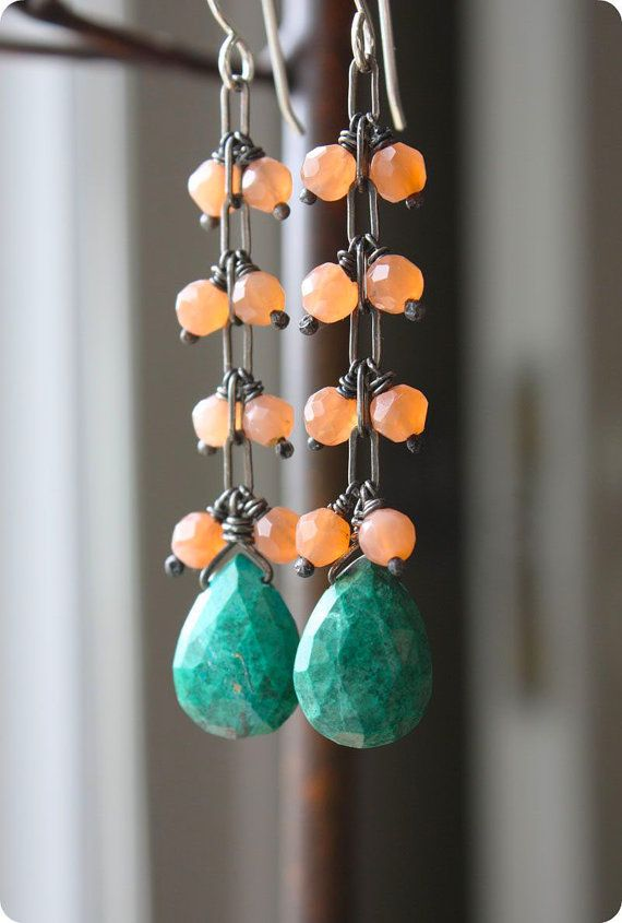 Chrysocolla Earrings turquoise teal peach long by ElisabethSpace