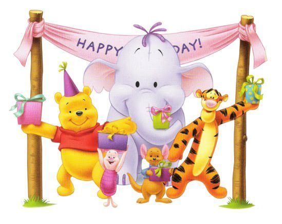 Winnie The Pooh And Friends Happy Birthday Happy Birthday Wishes Cards Disney Birthday Winnie The Pooh Birthday